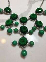 Green Tiered Chandelier Necklace Prep Bauble $19.00
