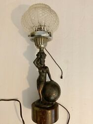 18quot; Lady on the Globe Bronze Lamp w Clear Argyle Designed Globe Over the Bulb $129.99