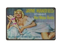 cheap wall accents 1955 Jayne Mansfield Shaped Hot Water Bottle metal tin sign $16.93