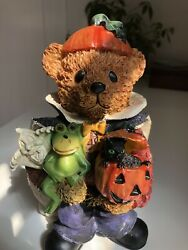 """Adorable Halloween Bear 8"""" Tall Holding Frog Ghost Pumpkin And Black Cat $20.00"""