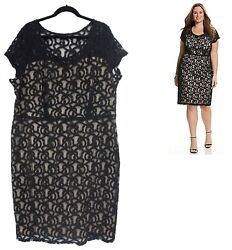 26 4X SEXY Womens BLACK LACE ILLUSION DRESS Sheath Evening Cocktail PLUS SIZE $59.99