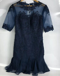 Bridess Womens Navy Party Lace Dress Size US 8 $39.00