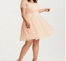 Torrid Plus Special Occasion Peach Lace Midi Off the Shoulder Skater Dress Sz 18 $35.00