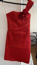S Red Cocktail Pencil Dress Off Shoulder Sassy Mini w oversized Flower $20.00
