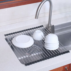 Foldable Kitchen Dish Drainer Roll Up Over Sink Dish Drying Rack Stainless Steel $13.60