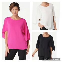 Dennis Basso Woven Scoop Neck Top with Cape Sleeves A350766 $14.99