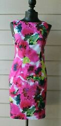 Ann Taylor Floral Sheath dress Sleeveless multi Color Career Cocktail Size 0 $10.99
