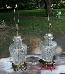 Pair Crystal Glass Asian Jar Form Mid Century Lamps $375.00