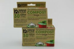 2 NATURAL HOME BRANDS 30 Pack Compost Bags for 1 1.3 amp; 1.8 Gallons Bins Green $18.99