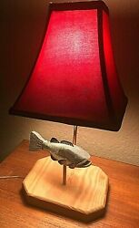 Gorgeous RAINBOW TROUT FISH Table LAMP w RED LAMP SHADE Cabin Decor $35.00