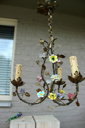 Vintage French 1970 metal porcelain flowers 3 arm small chandelier lamp $420.00