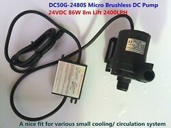 24VDC Small Brushless Circulation Water Pump DC50G 2480S 1 2#x27;#x27; Threaded 86W 8m $56.99