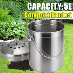 1.3 Gallon Stainless Steel Compost Bin Bucket Activated Carbon Sponges Filter 5L $23.99