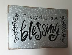 "Galvanized Metal ""Every Day Blessing"" Rustic Wall Sign 15""L $19.55"