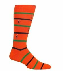 New Polo Ralph Lauren Men Socks Cotton Orange Navy amp; Green Stripe Free Shipping $10.99