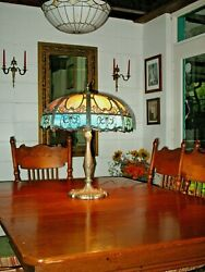 Stain Glass Panel Table Lamp Antique Cir. 1910 Winged Nudes Victorian Filigree $1895.25