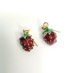 E0424 Dainty Red Tone Fruit Strawberry Design Mini Drop Dangle Post Earrings $7.99