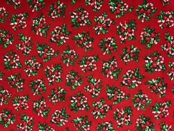Candy Canes with Holly on Red Fabric Holiday Christmas Winter Quilt Craft BTHY $3.75