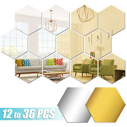 Modern DIY Mirror Tiles Hexagon Bathroom Decor Wall Sticker Room Vinyl Art Decal $7.95