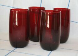 True VINTAGE BLOOD RED Glass TUMBLERS Set of 4 four 14 oz FREESHIP $48.00