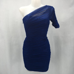 BCBG Blue BCBG Blue 1 Shoulder Mesh Ruched Dress Size 0 0