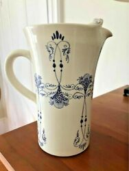 FRENCH vintage handmade painted POTTERY Helene PROVENCE Blue White Pitcher NICE $95.00