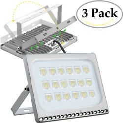 3X 100 Watt Slim High Power LED Flood Light Cool White Indoor Outdoor Fixtures