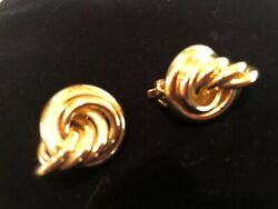GIVENCHY Vintage Gold Tone Looped Knot Statement Clip Earrings $29.00