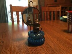 German Blue Fishscale Wall Oil Lamp With Mirrored Reflector $39.95