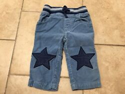 Mini Baby Blue Corduroy Pants With Star Knee Patches Size 6 12 Months $8.60
