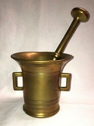 Vintage Antique Large Heavy Solid Brass Flat Bottom Mortar and Pestle $49.00