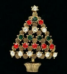 Statement Pin Brooch Shiny Rhinestone Crystal Christmas Tree Red Gold Green Bin5 $10.88