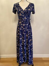 Caution To The Wind Mock Wrap Maxi Dress Short Sleeves Blue Floral Size S $12.95