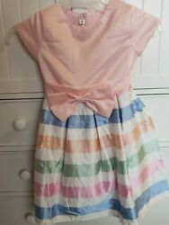 Pink Striped Party Formal Bow Dress Size 140 Size 10 $7.00