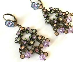 Sorrelli gorgeous dangle chandelier purple shades pierced earrings lovely $79.99