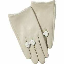 Beige Petite Bow Leather Gloves from Tickled Pink $54.50