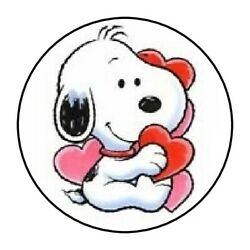 VALENTINES BABY SNOOPY LOVE STICKER LABEL ENVELOPE SEAL 1.2quot; OR 1.5quot; ROUND $2.25