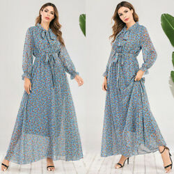 Abaya Muslim Women Floral Chiffon Long Sleeve Maxi Dress Casual Holiday Dresses C $37.18