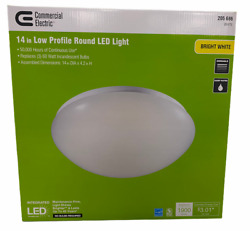 Commercial Electric Ceiling Light 14 Inch Flush Mount Low Profile Integrated LED
