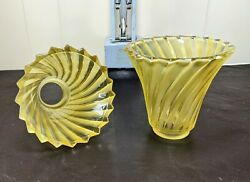 2 VTG Deco Style Yellow Glass Chandelier Shades Spiral Design Wall Sconce Shade $44.99