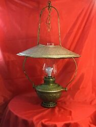 """c 1890 ANTIQUE ROCHESTER HANGING OIL LAMP """"CONVERTED TO ELECTRIC"""" 34 1 2""""H $400.00"""