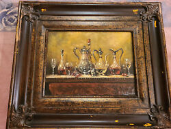 Antique Oil Painting On Canvas Artist Signed Framed Decanters. $175.77