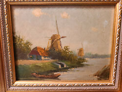 Antique Oil on Board Painting quot;Landscape Country of Mill and River Scenequot;. $137.77