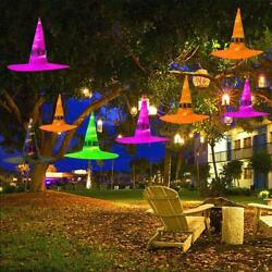 8 PCS Halloween Decorations Hanging Lighted Glowing Witch Hats Outdoor Lights $17.90