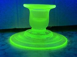 Vintage Vaseline Uranium Depression Green Glass * Rare Kelly Green Candle Holder $18.95