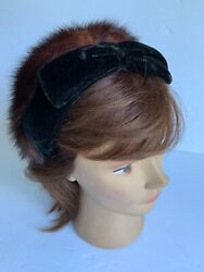 Vintage Mink Fur Black Velvet Double Headband Brown Fur Bow Hair Accessory $47.50