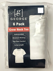 Men's George 6 Pack Crew Neck T shirts White— Size M L XL 2XL Short Sleeve $19.99