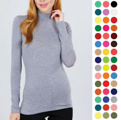 WOMEN SOLID COTTON TURTLENECK LONG SLEEVE TOP SHIRT T11901 $9.99