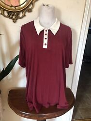 Women's ModCloth One More Time Ribbed Polo Top Burgundy Plus Size 2X $24.00
