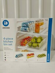 Clear Fridge Kitchen Bins 4 Set made by Idesign Durable Food Safe NEW Open Box $38.24